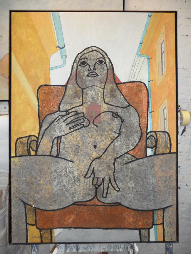 Akt auf Sessel-erotisch