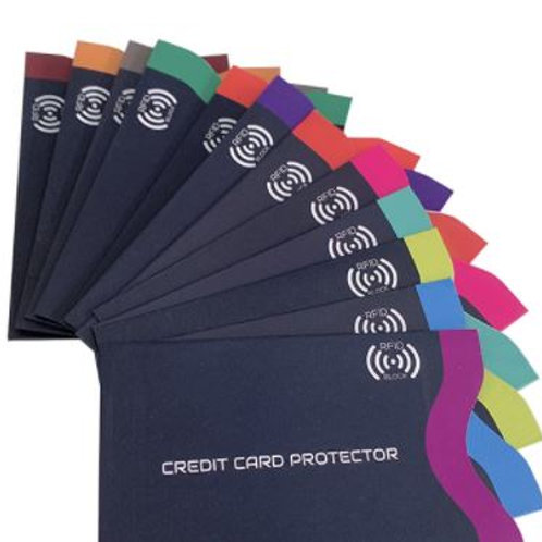 Credit Card Safety RFID Blocking Sleeves  | 12 Credit Card Protector Hold