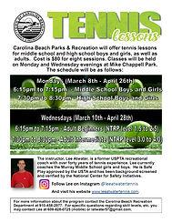Tennis Lessons March - April 2021