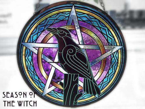"""Raven Pentagram Glass Suncatcher 6"""""""