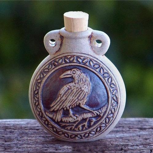 Raven Raku-Style Potion Bottle