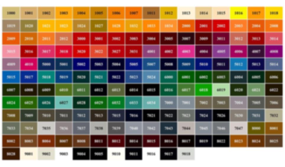 Выбор цвета по шкале RAL