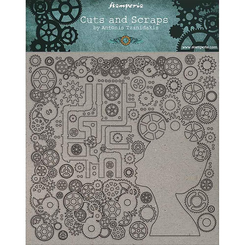 "Stamperia Greyboard Cut-Outs 11.8""X11.8"" 1mm Thick Lady & Gears"