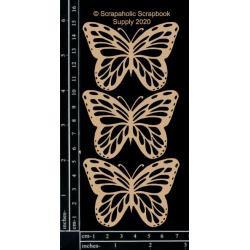 Scrapaholics Laser Cut Chipboard 1.8mm Thick Monarch Butterflies, 3/Pkg, 2.75'x2