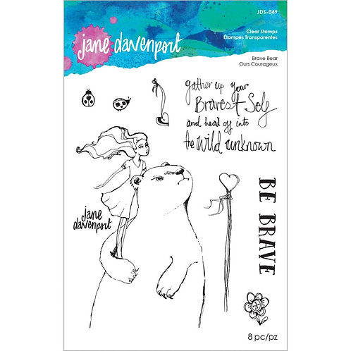 Jane Davenport Whimsical & Wild Collection Clear Stamp~Brave Bear