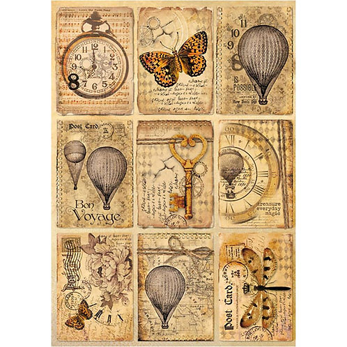 Stamperia Rice Paper Sheet A4~Mixed Media Postcards