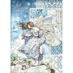 Stamperia Rice Paper Sheet A4 Fairy In The Wind, Winter Tales
