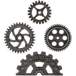 "Idea-Ology Metal Industrial Gears 1.5"" To 3"" 4/Pkg Antique Nickel"