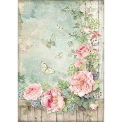 Stamperia Rice Paper Sheet A4 Roses Garden W/Fence