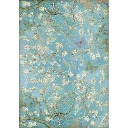 Blossom Blue Background W/Butterfly, Ate~Rice paper