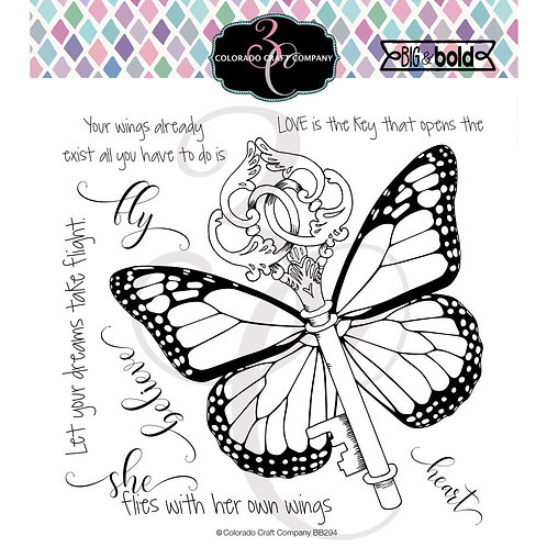 """Colorado Craft Company Clear Stamps 6""""X6""""~Her Own Wings-Big & Bold"""