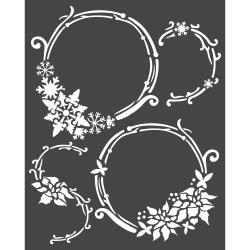 """Stamperia Stencil 7.87""""X9.84"""" Garlands, Winter Tales"""
