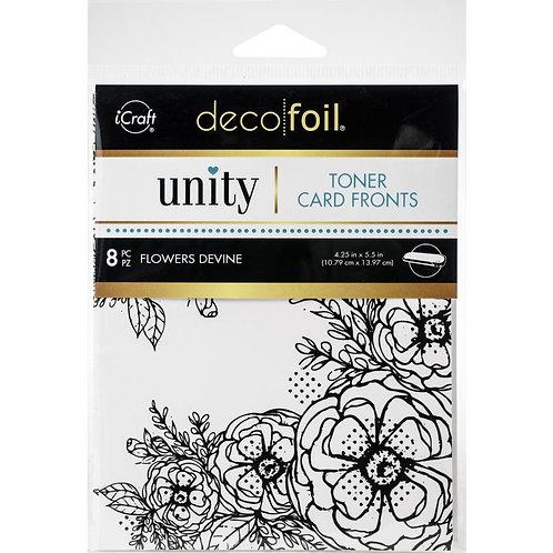 """Flowers Devine~Deco Foil Toner Card Fronts By Unity 4.25""""X5.5"""" 8/Pkg"""