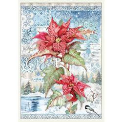 Stamperia Rice Paper Sheet A3 Poinsettia Red, Winter Tales
