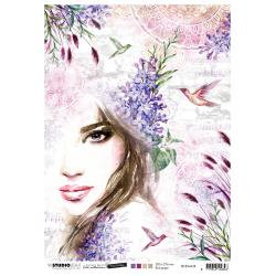 Nr.38, Woman & Hummingbirds Rice paper