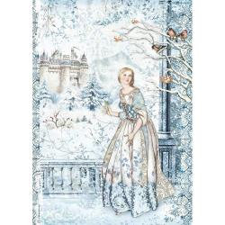 Stamperia Rice Paper Sheet A4 Fairy In The Snow, Winter Tales