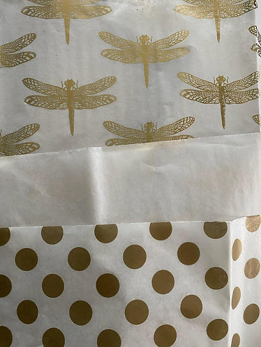 Gold Foil Dragonfly Tissue paper ~2 white & 1 gold circle