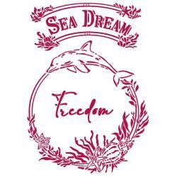 """Stamperia Stencil G 8.27""""X11.69"""" Sea Dream Freedom, Romantic"""