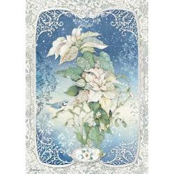Stamperia Rice Paper Sheet A4 Poinsettia, Winter Tales