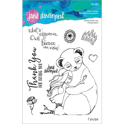 Jane Davenport Whimsical & Wild Collection Clear Stamp~Panda Thank You