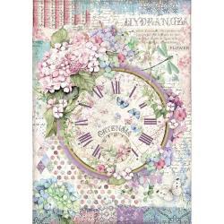 Stamperia Rice Paper Sheet A4 Clock, Hortensia