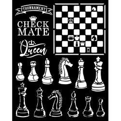 """Stamperia Stencil 7.87""""X9.84"""" Alice Check Mate"""