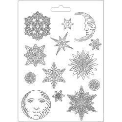 """Stamperia Soft Maxi Mould 8.5""""X11.5"""" Snowflakes, Winter Tales"""