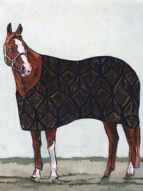 Chestnut Mare with Art Deco Blanket 11x14