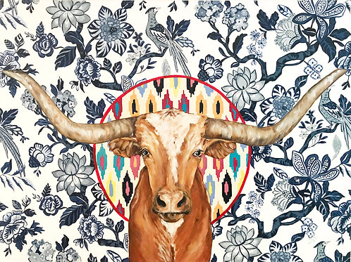 Longhorn on Chinoiserie Canvas Print