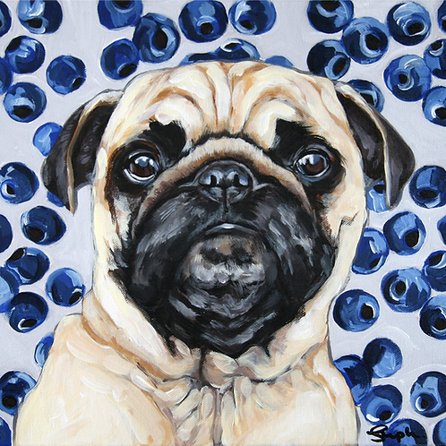 A Berry Cute Pug Painting - 12x12