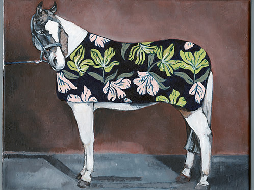 Paint Horse with Pink and Green Floral Blanket 14x11