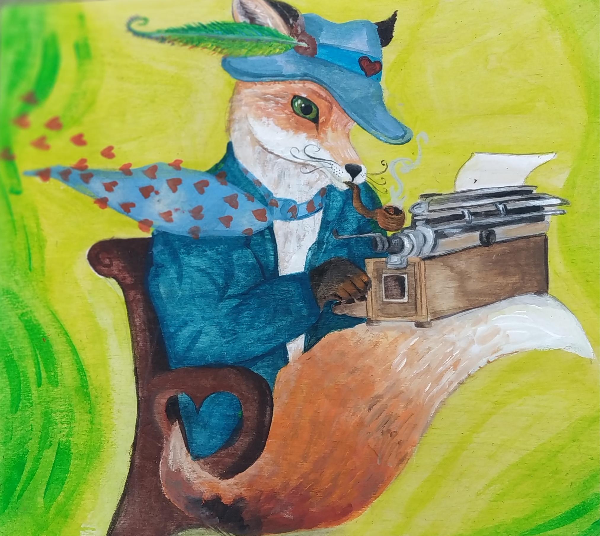 השועל- שלט בית קפה