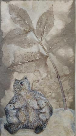 ציור בצבעי עפרון על הדפס בוטאני