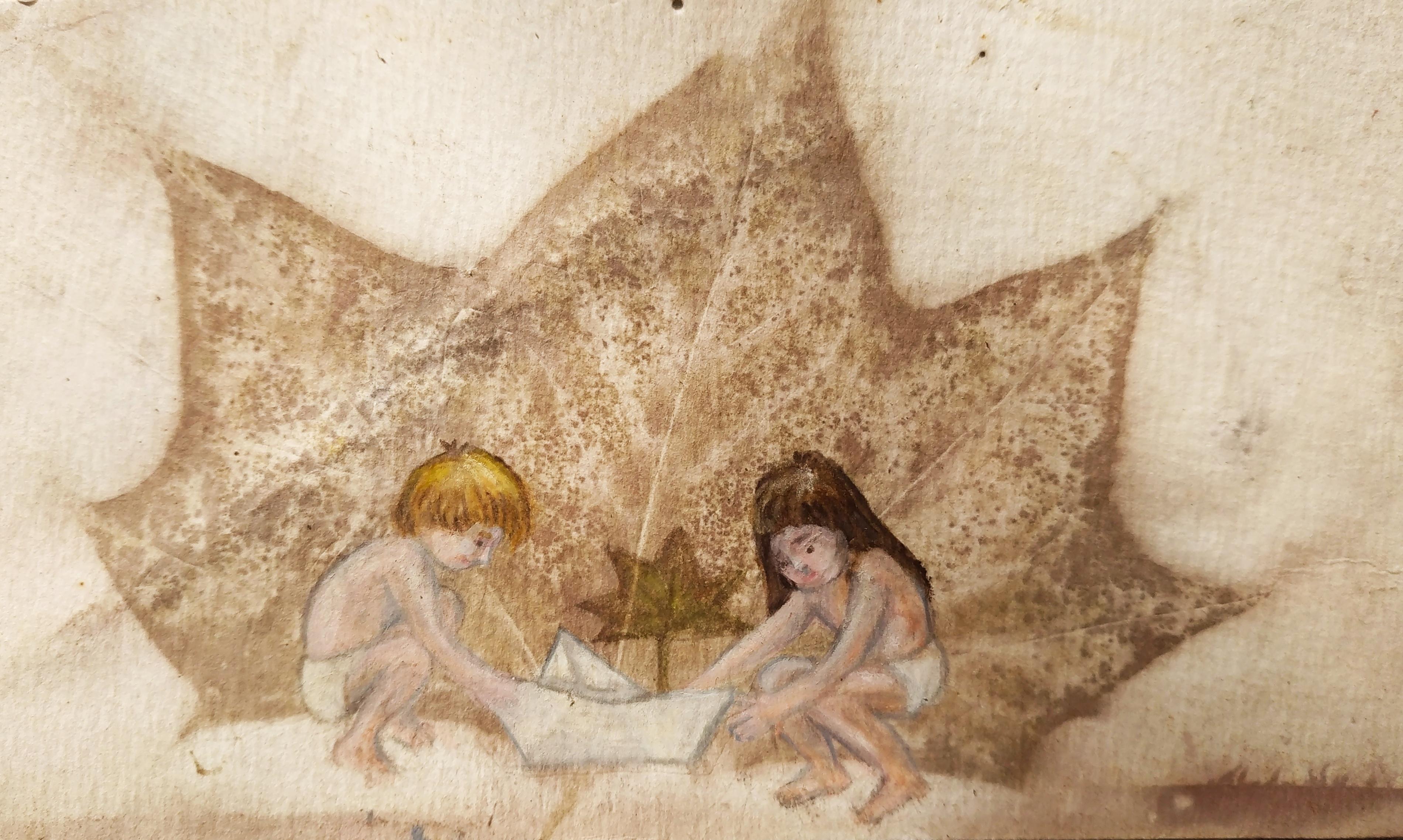 הדפס בוטאני וציור בצבעי עפרון