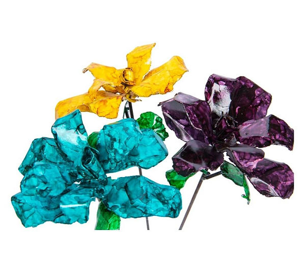 Turquoise, Yellow & Purple Recycled Stee