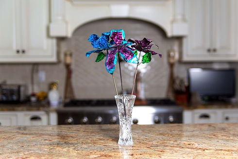 Purple Orchid, Blue Rose Centerpiece Kit