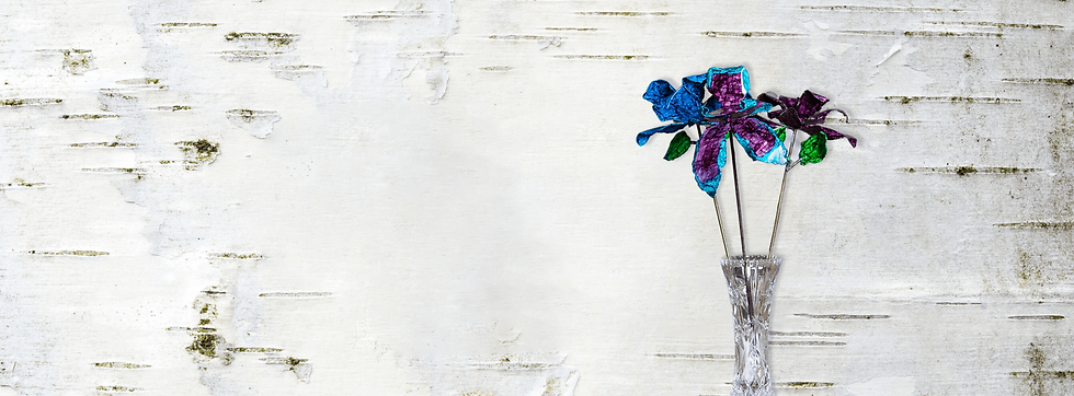 Flowers in Use Banner with Blue & Purple Rose & Purple Teal Orchid Bouquet in Crystal Vase