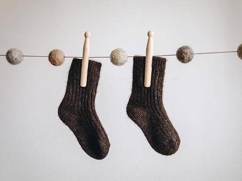Dětské jačí ponožky do postele - čoko