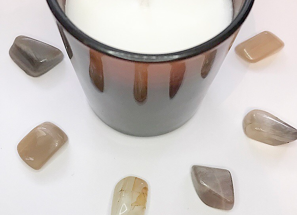 Unscented Amber Glass Candle