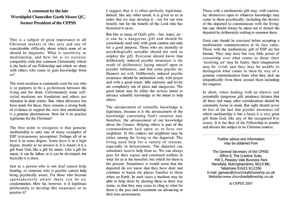 1 Sensitivity or Mediumship in a Christi