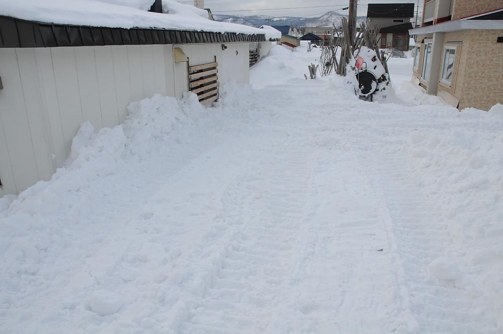 ブルドーザで雪が取り除かれた後