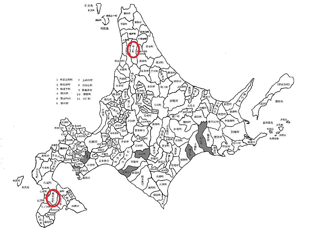 中川町と厚沢部町の位置