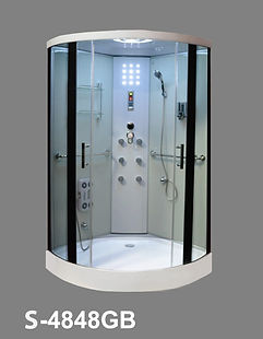 This is a view of the shower head, shower head massage and shower faucet of the shower enclosure, shower stall model S 4848.