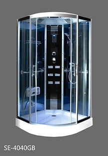 This is a view of the shower head, shower head massage and shower faucet of the shower enclosure, shower stall model S4040.