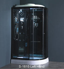 This is a view of the shower head, shower head massage and shower faucet of the shower enclosure, shower stall model S1615.