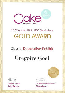 Cake International Birmingham 2017 Grégoire Goël Gold Award