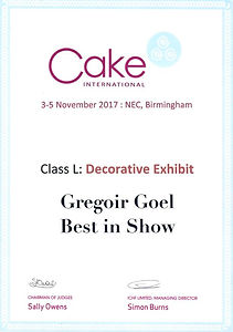 Cake International Birmingham 2017 Grégoire Goël Best in Show