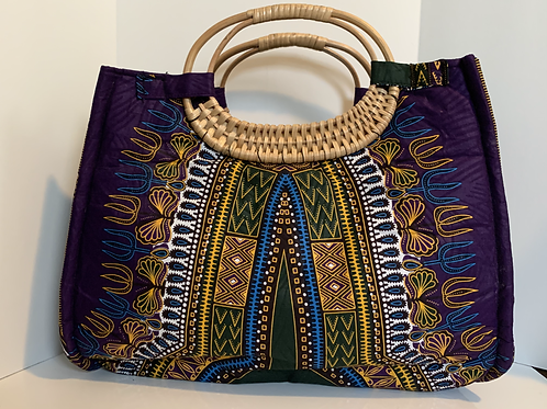 Purple Wicker Handle Bag