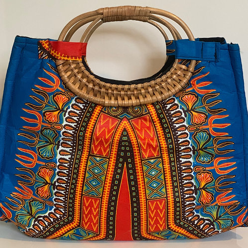 Turquoise Wicker Handle Bag