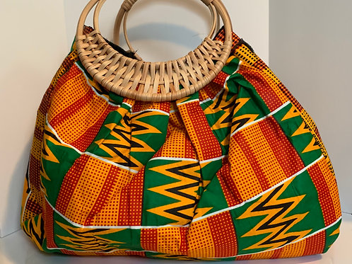Kente Cloth Wicker Handle